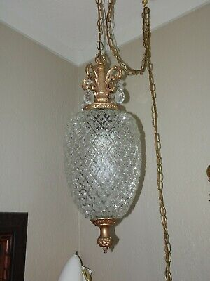 Vintage FK Gallery Hanging Pineapple Glass Swag Lamp Light Mid Century Large