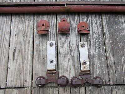 Antique Cannonball Barn Door Hardware Rollers, Track, End Caps, Hanger