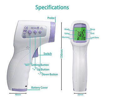 Forehead Digital Thermometer No Contact No Touch