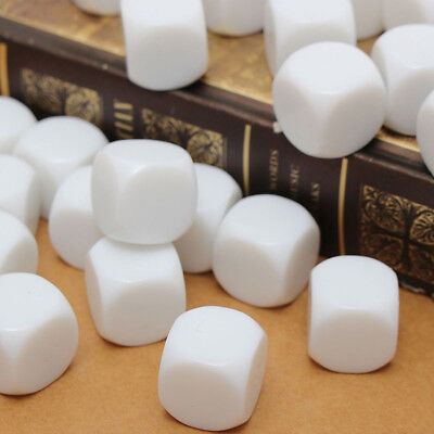 25pcs Plain Blank Acrylic Dices Cube DIY Six Sided D6 Game Toy Craft 16mm White