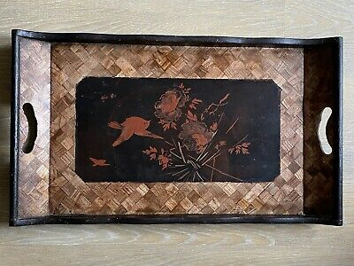 Antique Chinese Laquer Tray Hand Painted Marquetry 19th Century Qing Serving