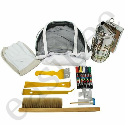 Bee Bundle Suit Gloves J & Hive Tool Brush Smoker Fork Marking Cage Clip Pens