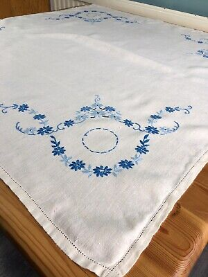 Vintage Tablecloth Dining Table Linen Topper Ditsy Decor Cover Blue Embroidery