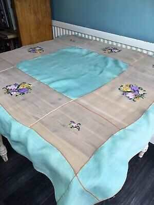 Vintage Tablecloth Dining Table Linen Topper Ditsy Decor Cover Floral Embroidery