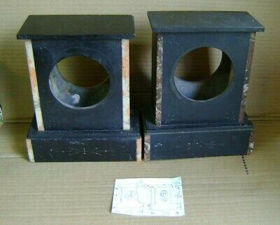 2 Antique Slate Mantel Clock Cases.