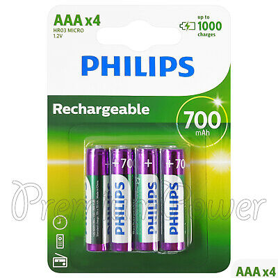 4 X Philips Rechargeable AAA 700 MAH Piles Nimh HR03 1.2V Micro Dect Téléphone