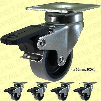 """4x 2""""/50mm BRAKED GREY PU CASTOR WHEELS HOLDS 200Kg Strong Dolly/Trolley Casters"""
