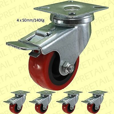 """4x BRAKED RED PU CASTOR WHEELS 2""""/50mm Small Strong Trolley/Dolly Caster 140Kg"""