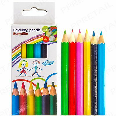 5x 6 MINI COLOURING CHILDRENS PENCILS Small Party Bag Fillers Art Craft Kids Fun