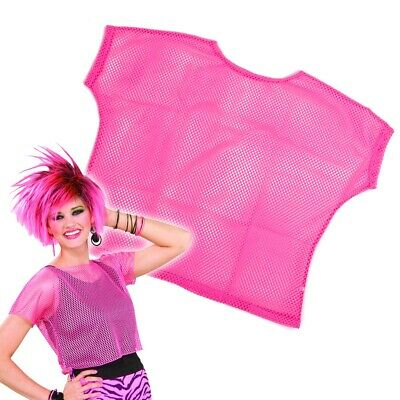 MESH FISHNET OR LACE TOP 80/'S LADIES PINK DISCO PARTY 1980 RAVE T-SHIRT CLUBBING