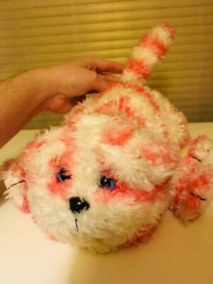 Adorable bagpuss cat plush toy stuffed animal with blue glass like eyes
