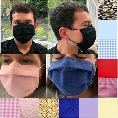 3 Layer Fabric Pleated Face Mask With Nose Wire & Filter Pocket Washable (Adult)