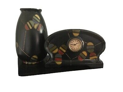 Porcelain Art Deco Clock And Matching Vase
