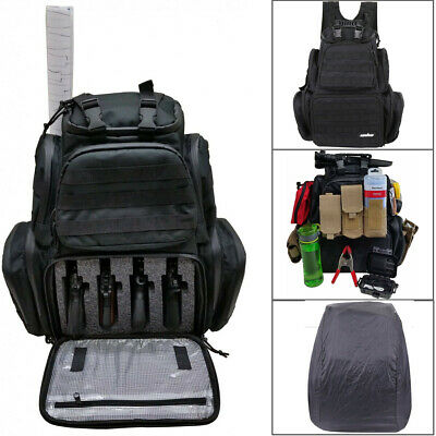Heavy Duty Tactical Backpack Range Bag w/ Rainfly Molle Straps Zipper Raincover