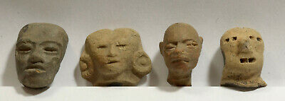 Four Genuine Pre Columbian Pre Classic and Classic Mexican Mexico Pottery Heads