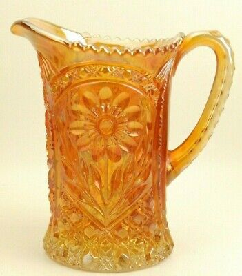 "Antique Imperial Carnival Art Glass Marigold/Orange Mayflower 10"" Water Pitcher"