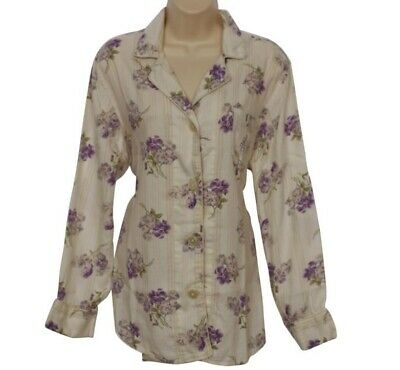 Lauren Ralph Lauren Pajama Shirt Size Large L Hollywood Ivory Floral