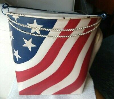 Southern Living At Home Americana Wall Bucket Iron Hand Painted Red White Blue