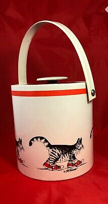 Vintage Kliban Ice Bucket Cat with Classic Red Sneakers