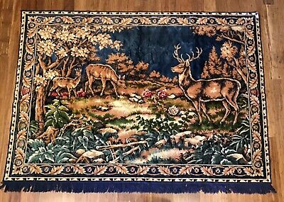 Vtg Silky Velvet Tapestry DEER Buck Doe Fawn Forest Wall Hanging or Rug 72 x 51