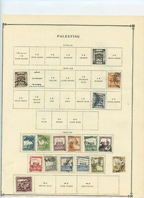 Palestine stamp collection on album page - early 1900's