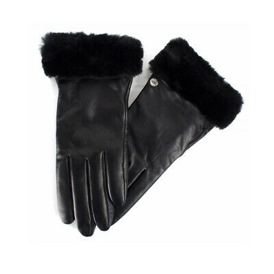 UGG women's shearling Shorty Tech black leather Fashion Gloves NWT Size Small S
