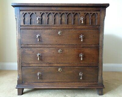 A Top Quality Bryn Hall Gothic Antique Style Oak Chest Of Drawers