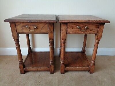 2 Bryn Hall Oak Tables / Bedside Tables / Occasional Tables Antique Style Pair