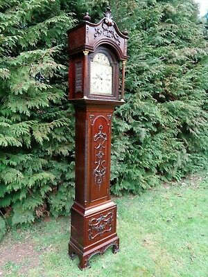 Antique Chippendale Revival Musical Longcase Clock Carved Mahogany Grandfather