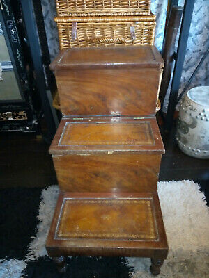 Victorian Flame Mahogany Library Steps with Storage