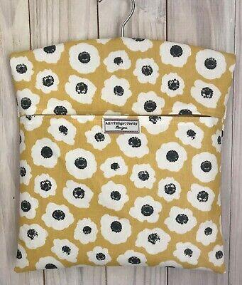 Peg Bag Made In Abstract Flower Heads Matt Oilcloth Fabric - Saffron