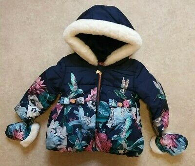 Ted Baker Baby Girls Navy Resistant Coat/ Jacket With Mittens Age 12-18  Months