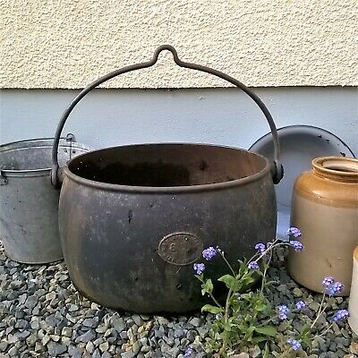 Antique Kenrick Cast Pot Planter 8 Gallon Hanging Gypsy Romany Rustic Garden