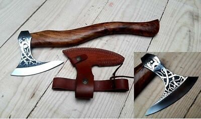 Handmade Combat Forged Tomahawk Throwing Viking Hatchet Axe Free Leather Sheath