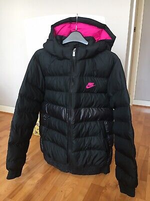 Nike Girls Synthetic Fill Lightweight Winter Jacket Detachable Hood M 10-11 Yrs