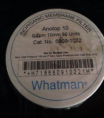 Whatman Anotop 10 0.2um 10mm Syringe Filters Pk50 Laboratory 6809-1022