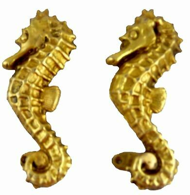 Sea Horse Shape Antique Style Handmade Brass Door Handles Cabinet Pull Knobs DH1