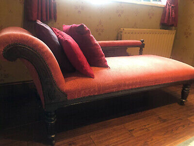 Antique Edwardian carved mahogany upholstered chaise longue day bed sofabed sofa
