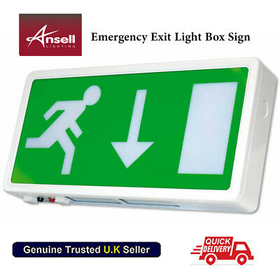 Emergency Exit Light Box Sign 8W T5 AG8/3M 240v IP20 rating Ansell 3 Hour  🇬🇧