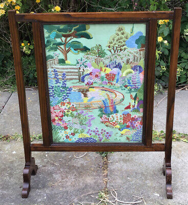 Antique Wooden Fire Screen With Embroidered Gandern Scene Behind Glass