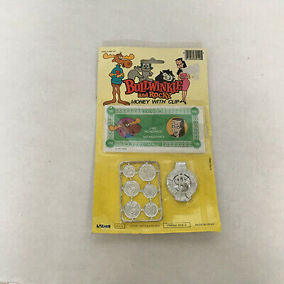 vintage toy  bullwinkle and rocky money with clip Natasha  bullwinkle on money
