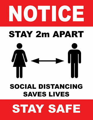 Social Distance 2M Rule Guidance Guideline Poster Professional Print Sign Notice