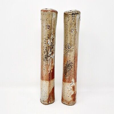 Studio Art Pottery Tall Pillar Salt And Pepper Shakers Cork Plugs Iridescent