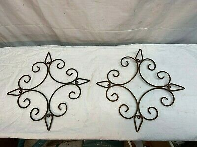 Vtg Pair of Cast Wire  Iron Scone Wall Hanging Architectural  Deco 13in Garden