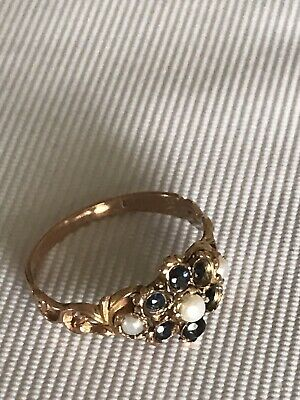 Antique Victorian Gold Seed Pearl and sapphire Ring with Original box.