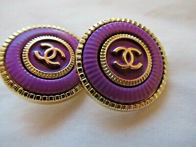 Chanel 2 buttons  20mm lot of 2 purple with gold tone cc logo lot 2