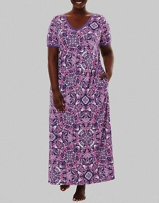 Dreams & Co. Plus Size Pretty Orchid Short Sleeves  Maxi Lounger Size 2X(26/28)