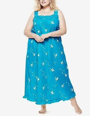 Dreams & Co. Plus Size Brilliant Blue Long Strap Embroidered Nightgown Size 3X