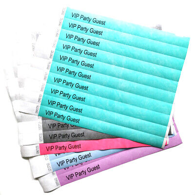 50 Personalised Paper 19mm Wristbands Custom Tyvek Party Entry Event  Tickets
