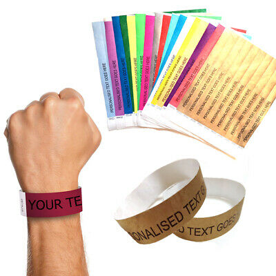 10 Personalised Paper 19mm Wristbands Custom Tyvek Party Entry Entrance Lockdown